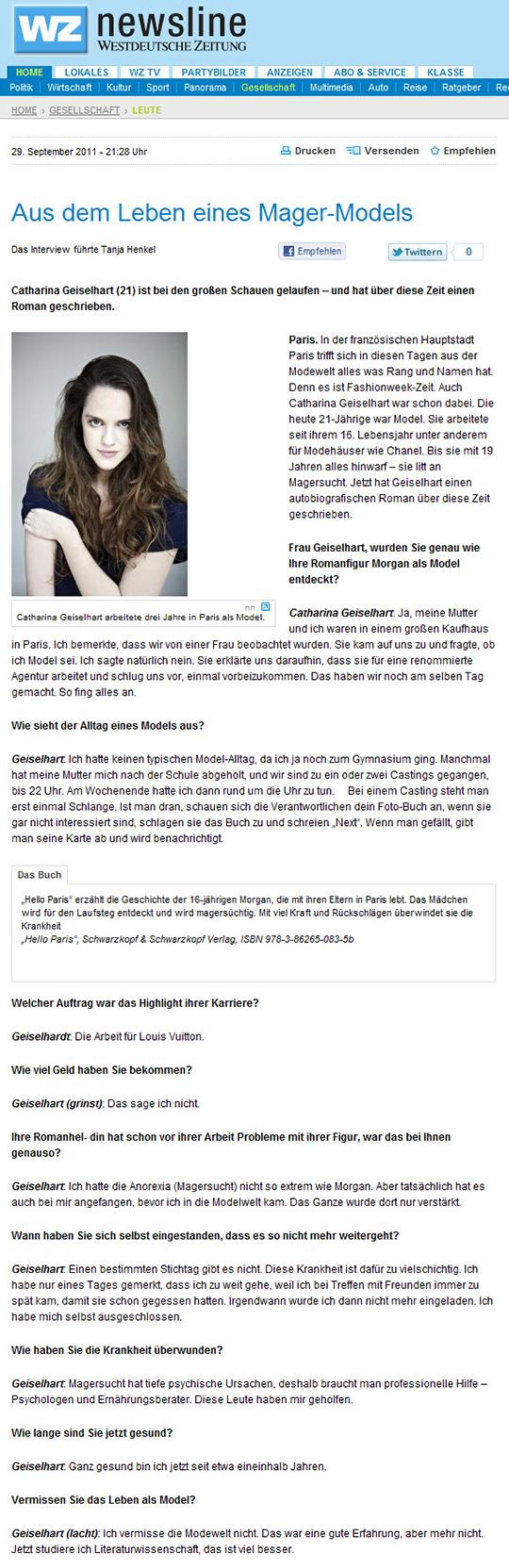 Interview in der Westdeutsche Zeitung online