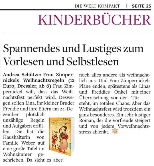 Frau Zimpernickels Weihnachtsregeln, Buchbesprechung